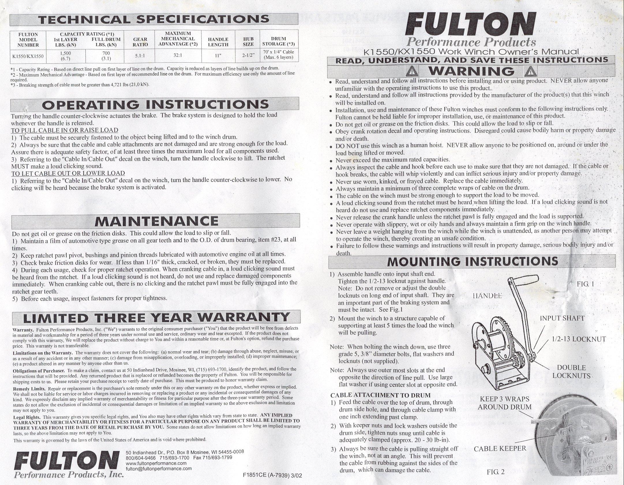 Fulton K1550 Braked Winch